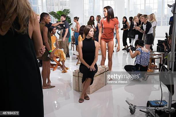 Models pose at the Brothers Vellies Presentation for Spring 2016 New York Fashion Week at Jack Studios on September 10 2015 in New York City
