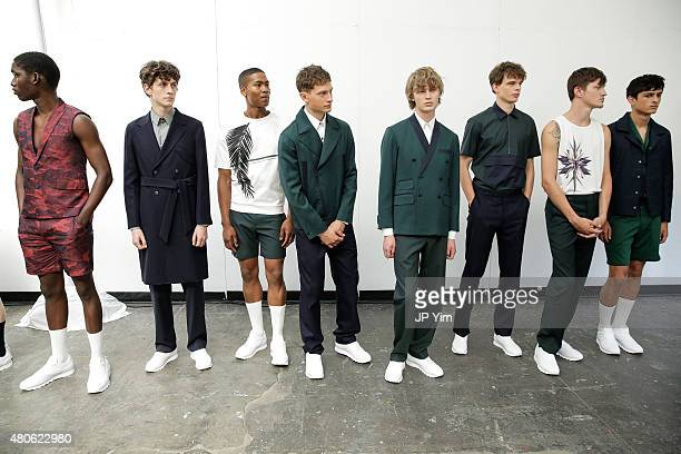 Models pose at the Carlos Campos Spring/Summer 2016 Presentation during New York Fashion Week: Men's S/S 2016 at Industria Superstudio on July 13,...