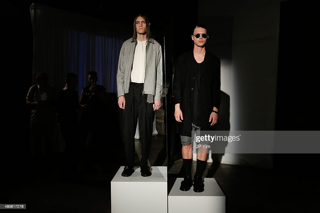 Models pose at the Chapter Presentation during New York Fashion Week: Men's S/S 2016 at Industria Superstudio on July 13, 2015 in New York City.