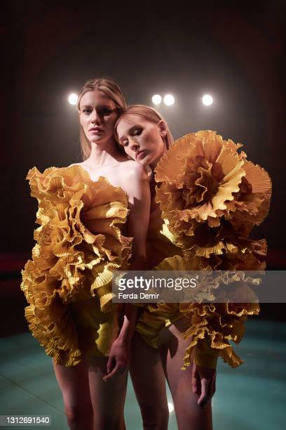Models pose at the Cihan Nacar Lookbook for Istanbul Fashion Week on April 15, 2021 in Istanbul, Turkey.