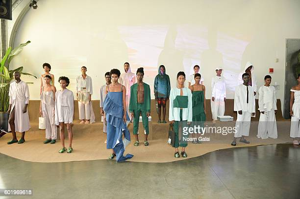 Models pose at the Collina Strada fashion show during New York Fashion Week September 2016 at Pier 59 Studios on September 10 2016 in New York City