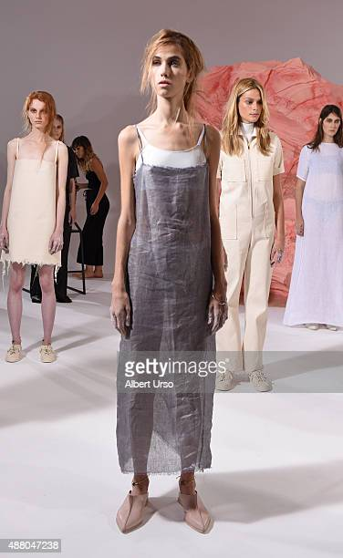 Models pose at the Collina Strada presentation during Spring 2016 New York Fashion Week The Shows at Milk Studios on September 12 2015 in New York...
