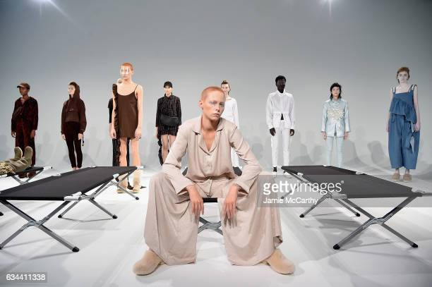 Models pose at the Collina Strada presentation during the February 2017 New York Fashion Week on February 9 2017 in New York City