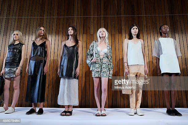 Models pose at the Collina Strada presentation during the MADE Fashion Week Spring 2015 at The Standard Hotel on September 9 2014 in New York City