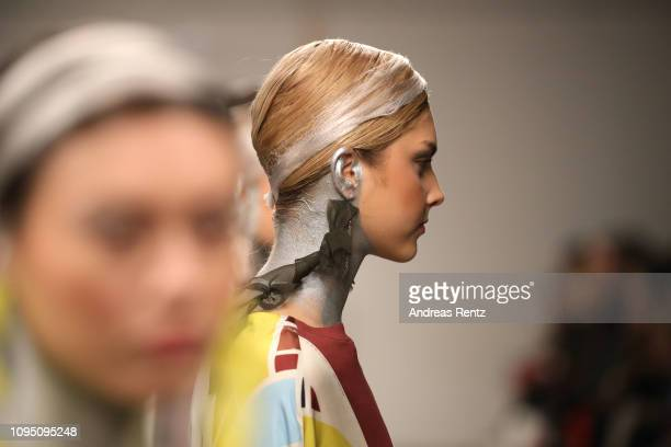 Models pose at the Dawid Tomaszewski Defile during the Berlin Fashion Week Autumn/Winter 2019 on January 16 2019 in Berlin Germany