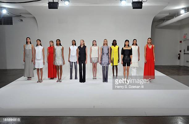 Models pose at the Dean Quinn presentation during Spring 2013 Mercedes-Benz Fashion Week at Milk Studios on September 8, 2012 in New York City.