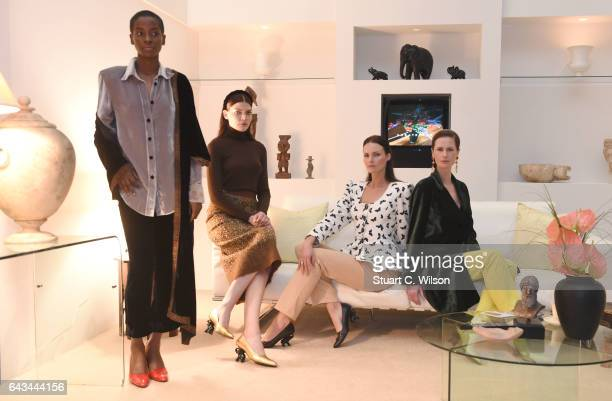 Models pose at the Dorateymur presentation during London Fashion Week February 2017 collections on February 21 2017 in London England