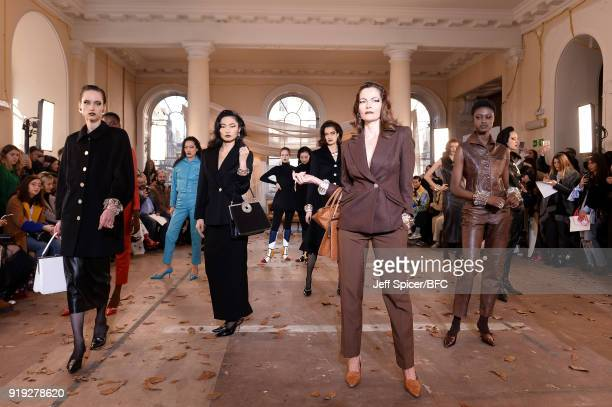 Models pose at the Dorateymur Presentation during London Fashion Week February 2018 at Somerset House on February 17 2018 in London England