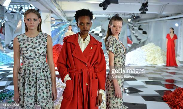Models pose at the Edeline Lee presentation at On|Off during London Fashion Week Autumn/Winter 2016/17 at On|Off on February 19 2016 in London England