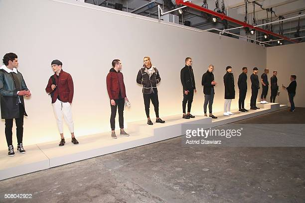 Models pose at the EFM Autumn/Winter 2016 Men's Presentation at Skylight at Clarkson Sq on February 2, 2016 in New York City.