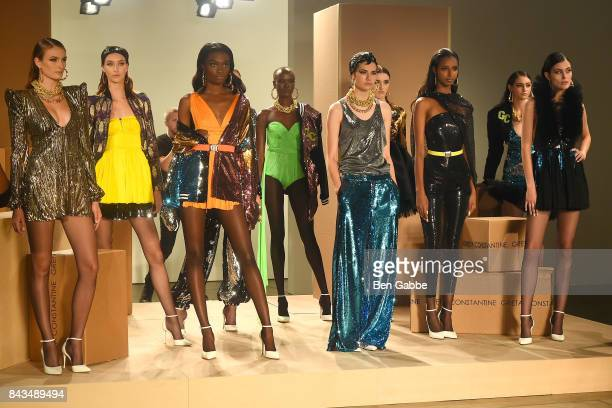 Models pose at the Greta Constantine presentation during New York Fashion Week at Pier 59 on September 6 2017 in New York City