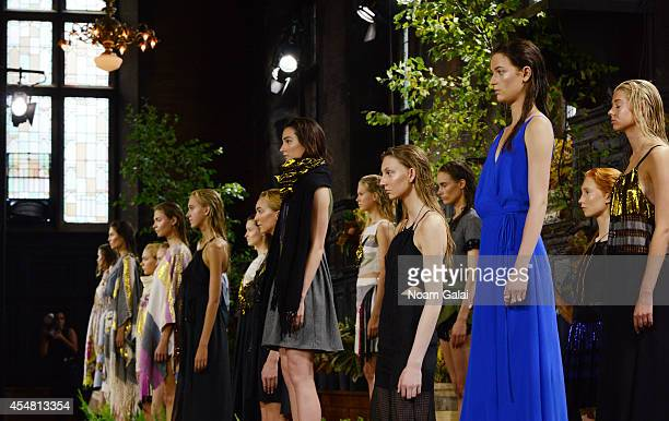 Models pose at the Harare fashion show during MercedesBenz Fashion Week Spring 2015 at The Highline Hotel on September 6 2014 in New York City