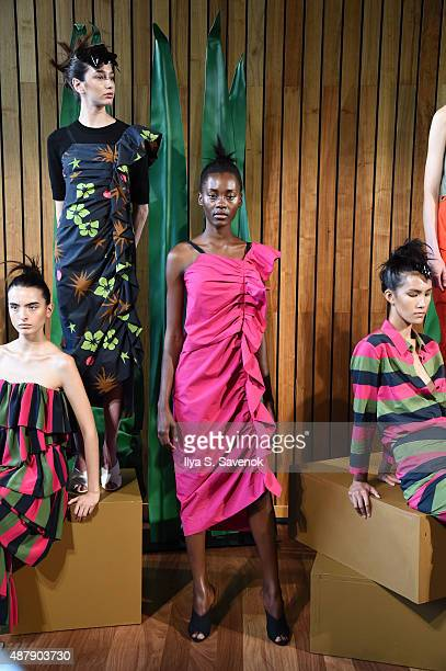 Models pose at the Isa Arfen Presentation during MADE Fashion Week Spring 2016 at The Standard Hotel on September 12 2015 in New York City