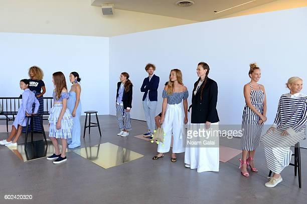 Models pose at the JCrew presentation during New York Fashion Week September 2016 at Spring Studios on September 11 2016 in New York City