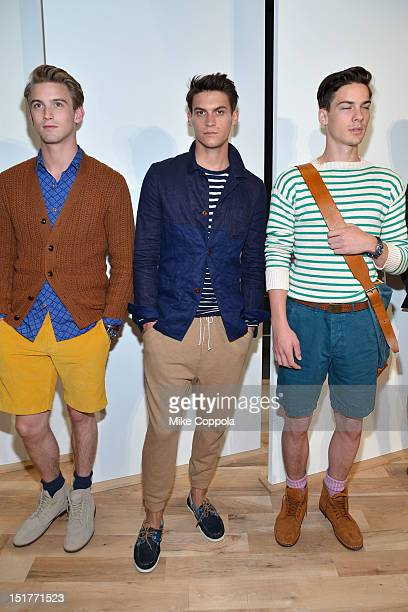 Models pose at the JCrew Presentation during the Spring 2013 MercedesBenz Fashion Week at The Studio at Lincoln Center on September 11 2012 in New...