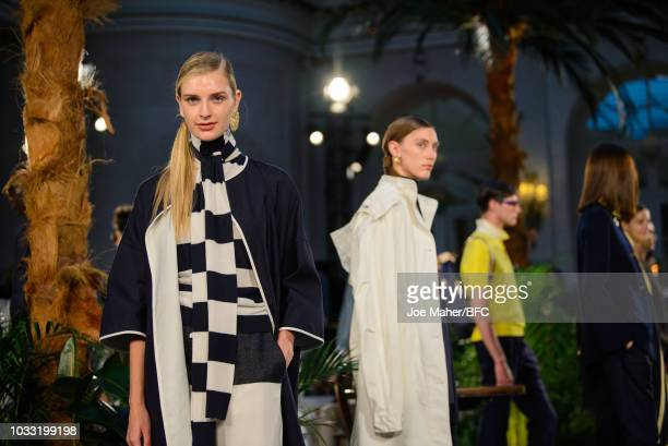 Models pose at the Johnstons of Elgin presentation during London Fashion Week September 2018 at Waldorf Hotel on September 14 2018 in London England