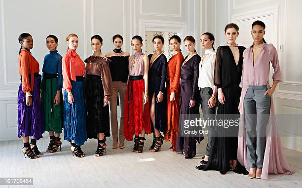 Models pose at the Juan Carlos Obando fall 2013 presentation during MercedesBenz Fashion Week on February 14 2013 in New York City