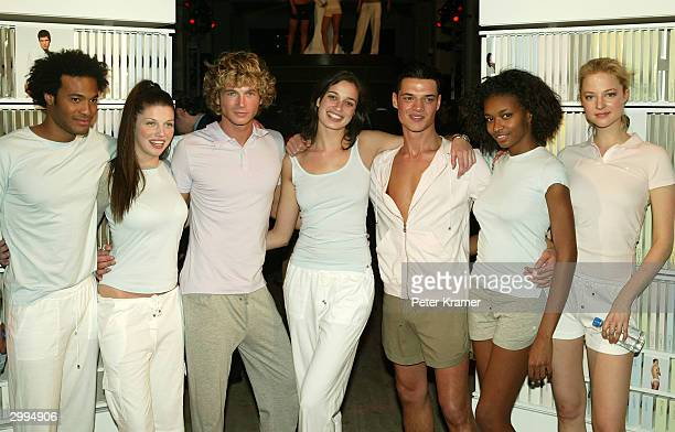Models pose at the Launch Party for Adam and Eve underwear and sportswear February 18 2004 in New York City