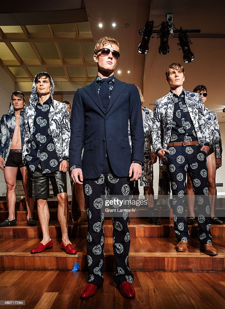 Models pose at the Malan Breton presentation during New York Fashion Week: Men's S/S 2016 on July 14, 2015 in New York City.