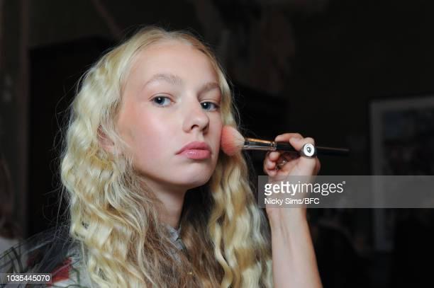 Models pose at the Malene Oddershede Bach presentation during London Fashion Week September 2018 at Ennismore Session House on September 18 2018 in...