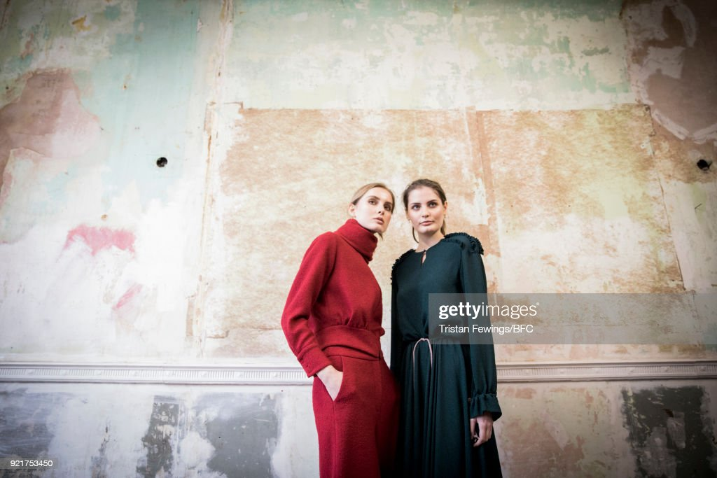 Models pose at the Merchant Archive Presentation during London Fashion Week February 2018 on February 20, 2018 in London, England.