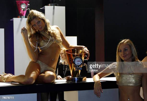 Models pose at the Millionaire Fair 2007 at Crocus Expo November 22, 2007 in Moscow, Russia. The Millionaire Fair, the world's largest exhibit of...
