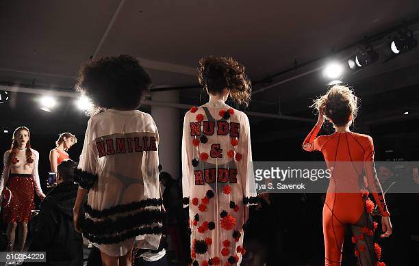 Models pose at the Namilia presentation during Fall 2016 MADE Fashion Week at Milk Studios on February 14 2016 in New York City