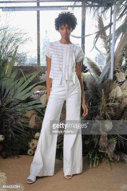 Models pose at the Nicole Miller fashion show during New York Fashion Week The Shows at Gramercy Terrace at The Gramercy Park Hotel on September 8...
