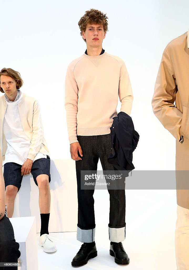 Models pose at the Plac Presentation during New York Fashion Week: Men's S/S 2016 at Industria Superstudio on July 13, 2015 in New York City.