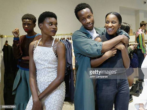 Models pose at the Rachel Comey presentation during New York Fashion Week on September 7 2016 in New York City