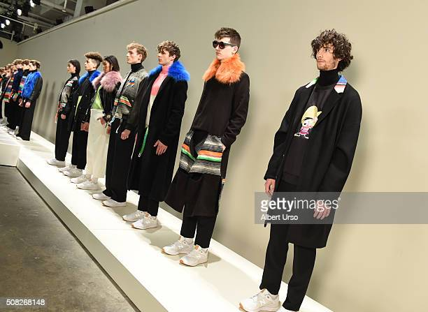 Models pose at the Ricardo Seco presentation during New York Fashion Week Men's Fall/Winter 2016 at Skylight at Clarkson Sq on February 3, 2016 in...
