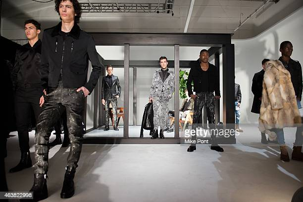 Models pose at the Rob Garcia Presentation during Mercedes-Benz Fashion Week Fall 2015 on February 18, 2015 in New York City.