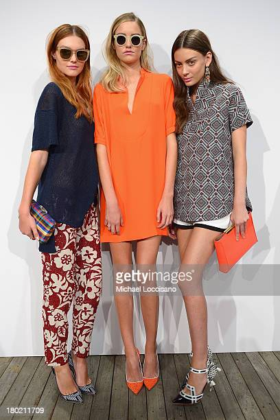 Models pose at the runway at the JCrew presentation during MercedesBenz Fashion Week Spring 2014 at The Studio at Lincoln Center on September 10 2013...