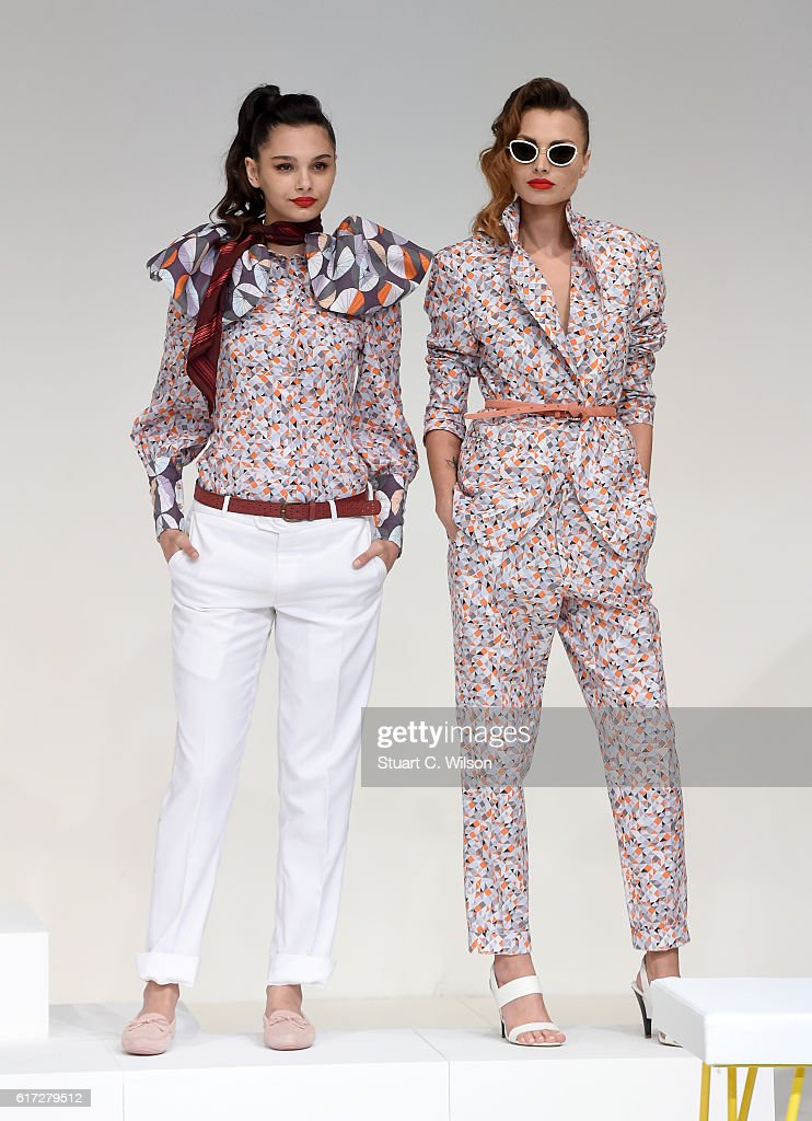 Models pose at the runway during the Mrs. Keepa Presentation at Fashion Forward Spring/Summer 2017 held at the Dubai Design District on October 22, 2016 in Dubai, United Arab Emirates.