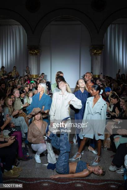 Models pose at the runway for SOSTER STUDIO at the Bik Bok Runway Award during Oslo Runway SS19 at Bankplassen 4 on August 16 2018 in Oslo Norway
