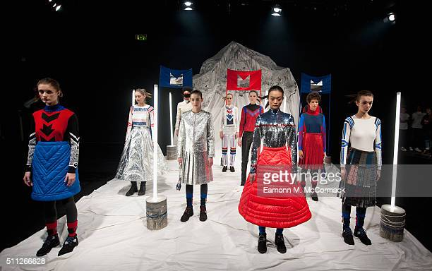 Models pose at the Sadie Williams presentation during London Fashion Week Autumn/Winter 2016/17 at ICA on February 19 2016 in London England