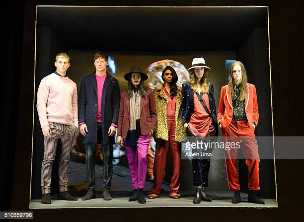 Models pose at the Scotch Soda presentation during Fall 2016 New York Fashion Week on February 14 2016 in New York City