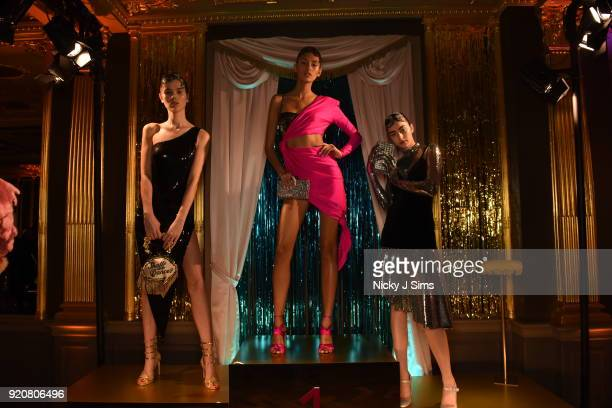 Models pose at the Sophia Webster AW18 presentation during London Fashion Week February 2018 at Hotel Cafe Royal on February 19 2018 in London England
