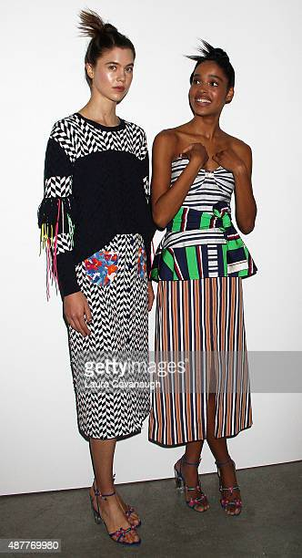 Models pose at the Tanya Taylor Presentation Spring 2016 New York Fashion Week at Swiss Institute on September 11 2015 in New York City