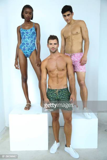 Models pose at the Thorsun Men's and Women's Spring/Summer 2018 presentation on July 12 2017 in New York City