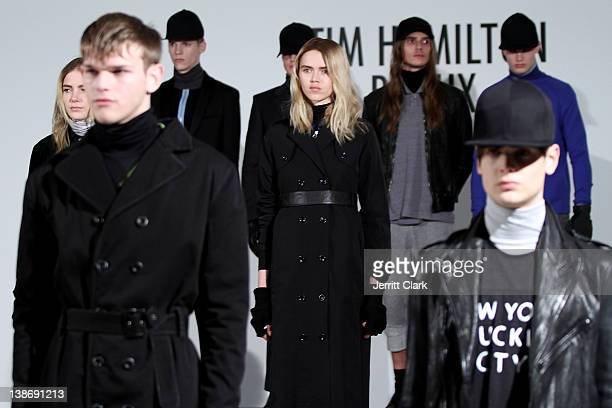 Models pose at the Tim Hamilton Redux Fall 2012 fashion show during Mercedes-Benz Fashion Week at the Milk Studios - Studio 1 on February 9, 2012 in...
