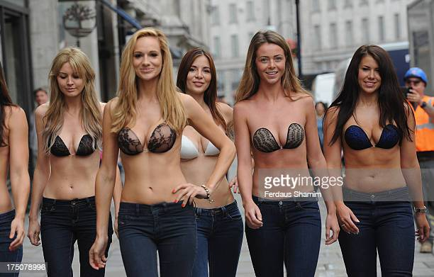 caca386aebd2c Models pose at the UK launch of InvisiBra at Regent Street on July 31 2013  in