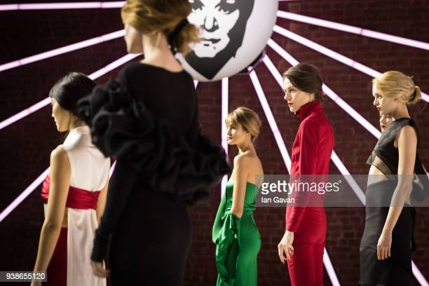 Models pose at the Urun show during MercedesBenz Istanbul Fashion Week at the Zorlu Performance Hall on March 27 2018 in Istanbul Turkey