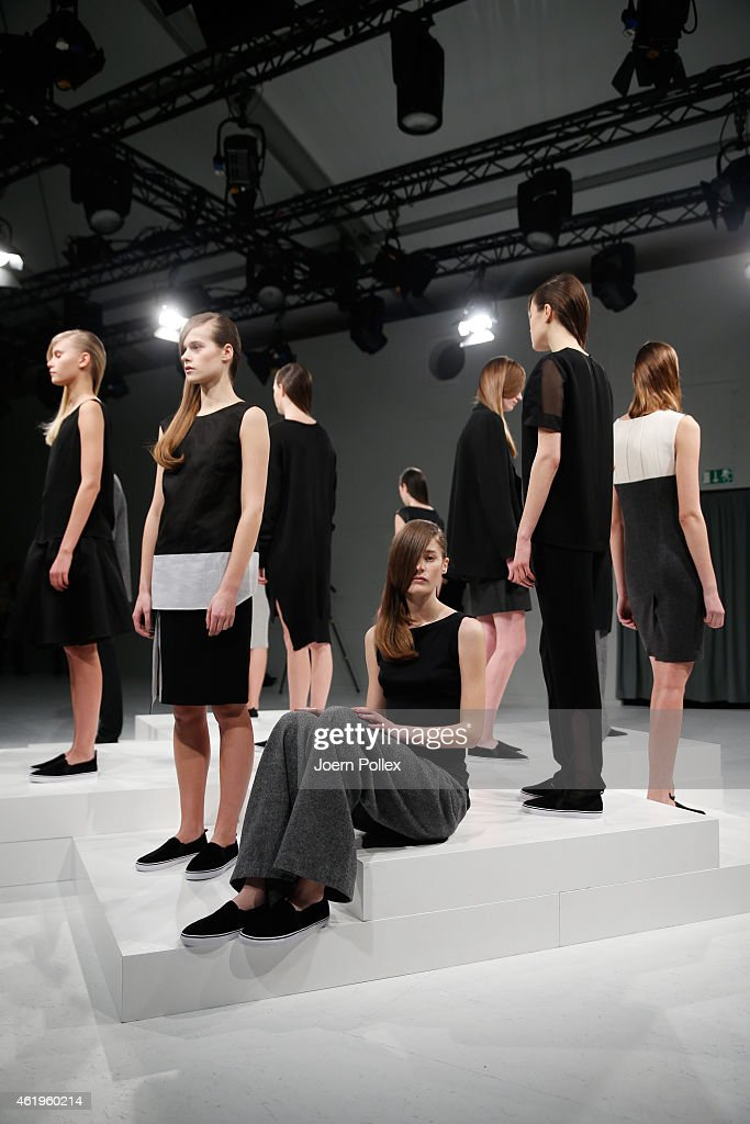 Models pose at the Whitetail show during the Mercedes-Benz Fashion Week Berlin Autumn/Winter 2015/16 at Brandenburg Gate on January 22, 2015 in Berlin, Germany.