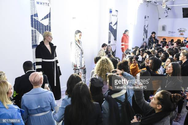 Models pose at the Whyte Studio Freestyle Event during London Fashion Week February 2018 at The White Space on February 20 2018 in London England