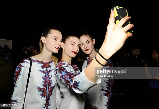 Models pose backstage ahead of Byblos Milano show during Milan Fashion Week Womenswear Autumn/Winter 2014 on February 19 2014 in Milan Italy