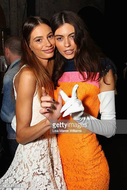 Models pose backstage ahead of the Alex Perry show at MercedesBenz Fashion Week Australia 2014 at Carriageworks on April 7 2014 in Sydney Australia