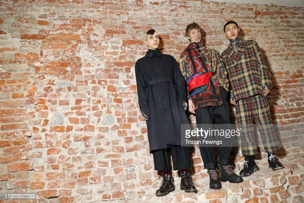 Models pose backstage ahead of the Alexandra Moura show at Milan Fashion Week Autumn/Winter 2019/20 on February 25 2019 in Milan Italy