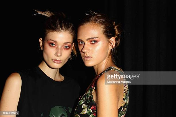 Models pose backstage ahead of the Bec and Bridge show during MercedesBenz Fashion Week Australia Spring/Summer 2013/14 at Carriageworks on April 8...