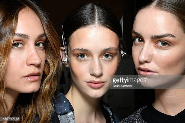 Models pose backstage ahead of the Blugirl show during Milan Fashion Week Spring/Summer 2016 on September 24 2015 in Milan Italy